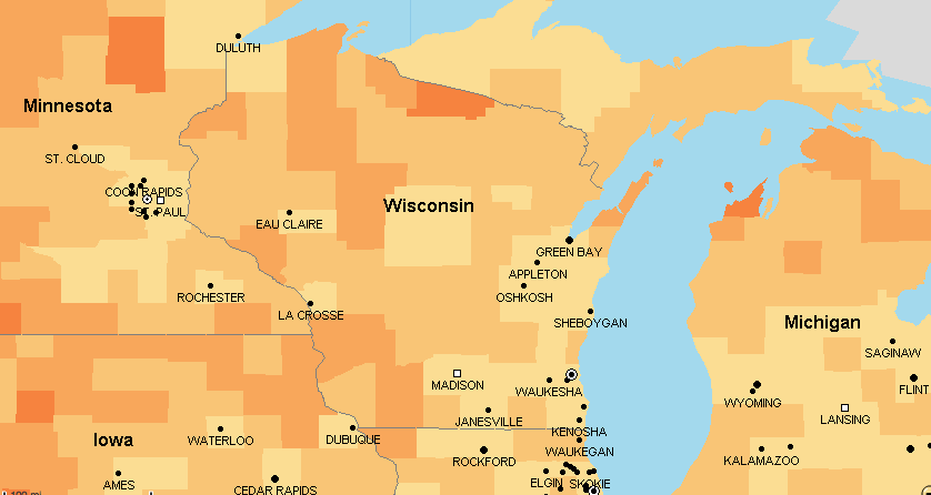 Wisconsin public service sector social explorer american community survey