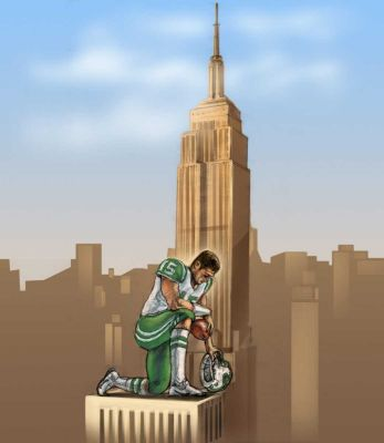 Tim Tebow in New York by artist Janet Hamlin (Newsday)