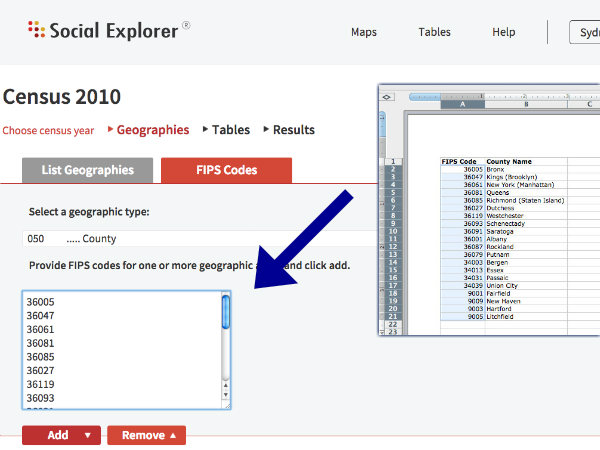 Social Explorer Shortcut: Creating a Report Using FIPS Codes