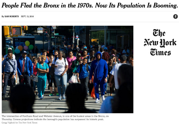 Social Explorer's Andrew Beveridge on Bronx Population Growth in the NY Times