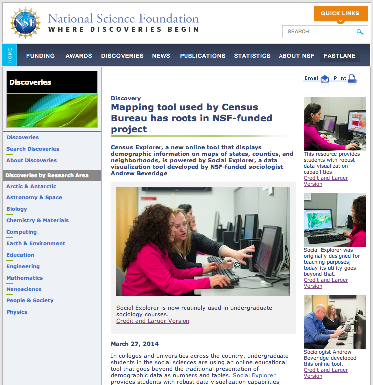 NSF Highlight on Website