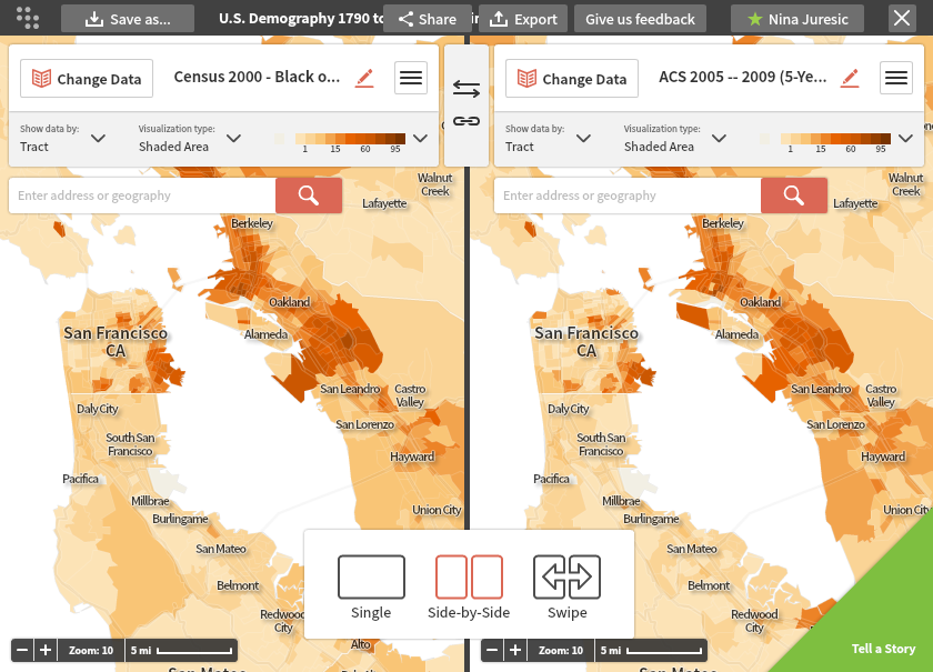 Screenshot of side-by-side maps in Social Explorer