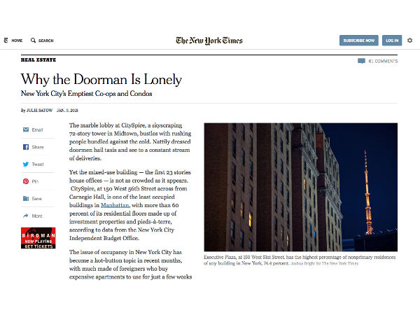 Social Explorer's Andrew Beveridge in the NY Times on NYC's Empty Highend Homes