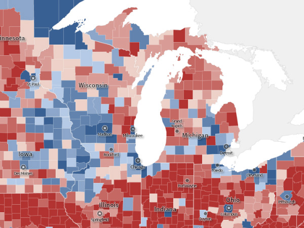 2012 vs. 2016 Election Maps: Closeup on the Midwest