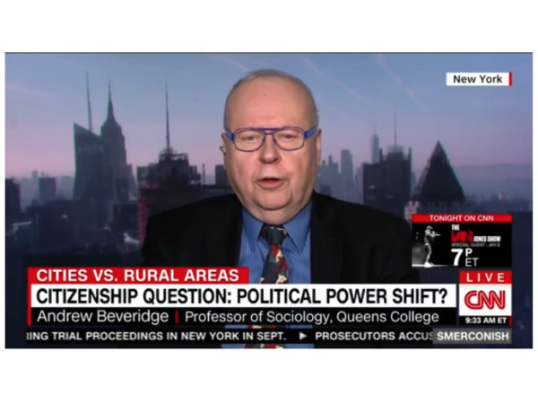Social Explorer's Andrew Beveridge on CNN Discussing Citizenship and the Census [VIDEO]