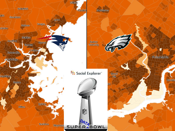 "Social Explorer's 2018 Super ""Data"" Bowl: Philadelphia Eagles vs. New England Patriots"
