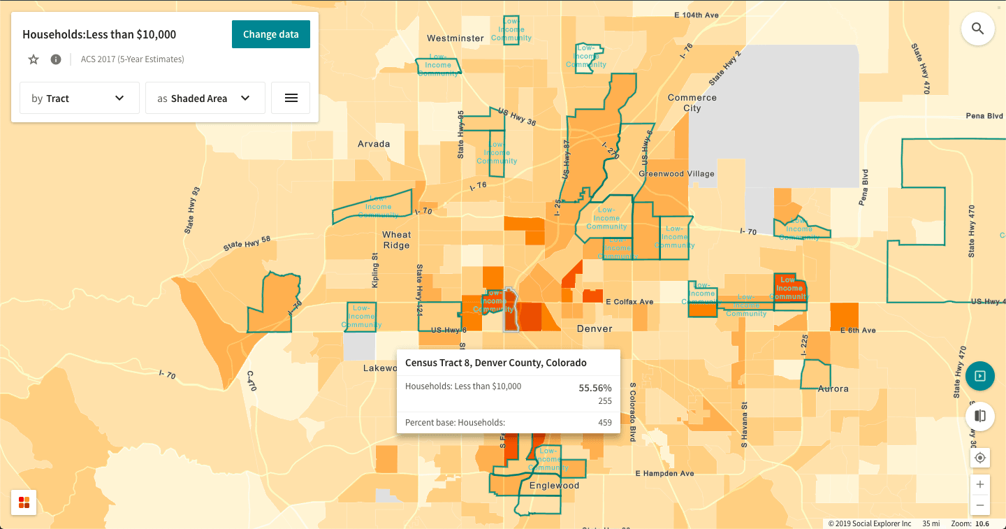 The share of Denver households earning less than $10,000 according to the 2017 ACS (5-Year Estimate), marked by Opportunity Zones