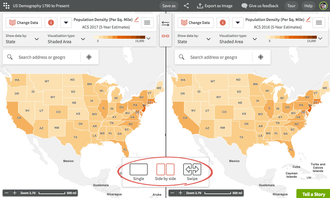 Use Side by side and Swipe maps | Visualizing data | Using Maps ...